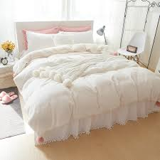 White Bed Skirt Queen Thick Fleece White Pink Gray Girls Bedding Set King Queen Full