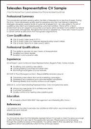 Resume Core Qualifications Examples by Telesales Representative Cv Sample Myperfectcv