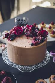 Win With Flower by Simple Chocolate Cake With Berries And Fresh Flowers Cake
