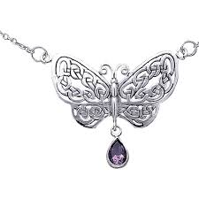 silver celtic butterfly necklace with ps tn257 by
