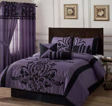 Black And Red Comforter Sets King 7 Piece King Catherine Flocking Black And Red Comforter Set Ebay