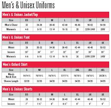 chef uniforms size charts