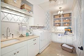 blue quatrefoil wallpaper quatrefoil wallpaper contemporary laundry room markay johnson