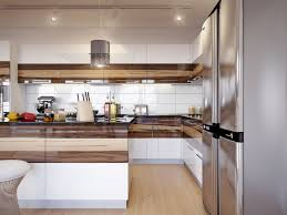 wood kitchen cabinets large cornered cabinet glossy concrete flo
