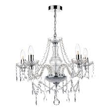 katie 5 light chandelier polished chrome acrylic glass