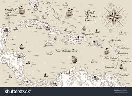 Map Caribbean Sea by Old Map Caribbean Sea Vector Illustration Stock Vector 668203900