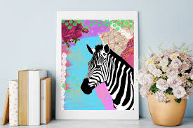 Zebra Home Decorations Zebra Art Print Colorful Mixed Media Collage Animal Painting