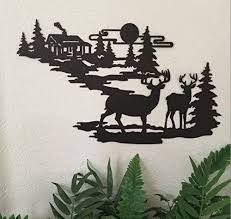 Cabin Ironworks Deer And Lodge In Woodlands Metal Wall Art - Iron works home decor