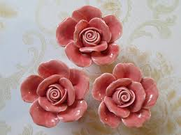 Shabby Chic Drawer Handles by Knobs Rose Flower Shabby Chic Dresser Knobs Pink Ceramic