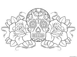 sugar skull and roses calavera coloring pages printable