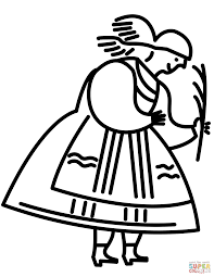 polish woman in traditional folk dress coloring page free