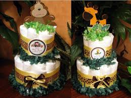 baby shower jungle safari diaper cake centerpieces two tiered