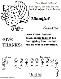 thanksgiving turkey one thankful ten lepers coloring page jpg