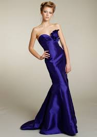 lazaro bridesmaid dresses grape satin strapless petal accents mermaid bridesmaid dress