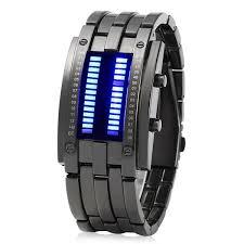 bracelet watches led images Men date binary digital led bracelet watch rectangle dial in black jpg