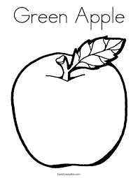 Green Apple Coloring Page Twisty Noodle Green Coloring Page