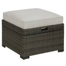 grand resort monterey cushioned ottoman with storage u0026 tray grey
