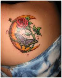 butterfly crescent moon tattoo designs for new moon tattoo