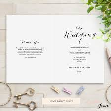 Order Wedding Programs Sweet Bomb Printable Folded Wedding Order Of Service Template