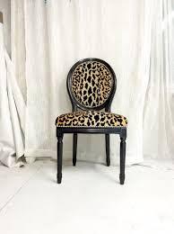 black high gloss animal print upholstered french louis xvi side