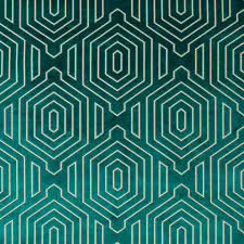 Velvet For Upholstery Dark Teal Geometric Cut Velvet Upholstery Fabric Modern Teal