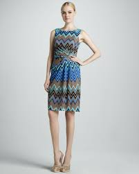 david meister zigzag printed dress in blue lyst