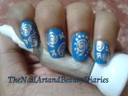 sparkly blue white silver nail art design easy youtube top blue