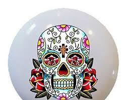 sugar skull knob etsy