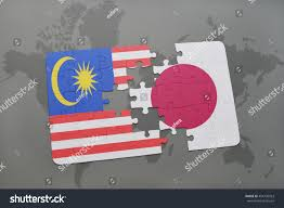 Japan World Map by Puzzle National Flag Malaysia Japan On Stock Illustration