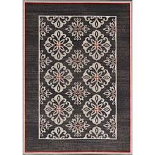 hampton bay medallion border tan grey 5 ft x 7 ft indoor outdoor