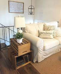 Living Room Side Table Living Room Makeover Stacked Trunk End Table Rustic Farmhouse