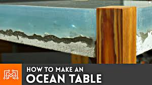 How To Make End Tables Wooden by How To Make An Ocean Table Concrete And Epoxy Resin Youtube