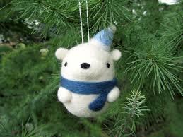 needle felted polar bear ornament felt polar bear christmas