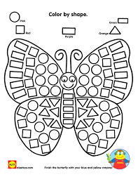 color by shape butterfly printable butterflies shape and coloring