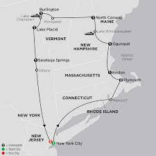 New England States Map United States Travel Packages Cosmos Eastern Us Tours