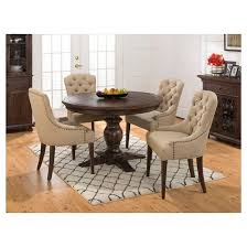 geneva hills 5 piece round dining set with tufted side chairs wood