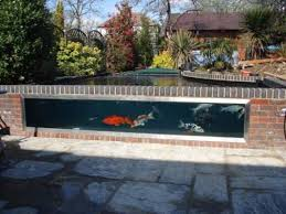 semi formal fibreglass pond with window koi water garden semi