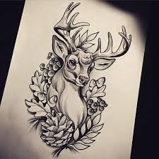traditional deer with oak leaves and berries tattoo design