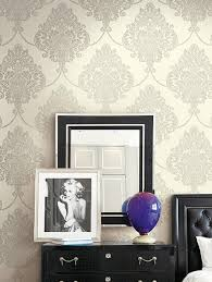 Purple Damask Wallpaper by Classic Damask Wallpaper In Metallic And Neutrals Design By