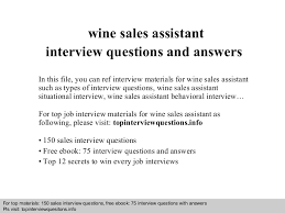 wine sales assistant interview questions and answers