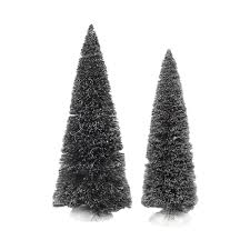 dept 56 accessories set of 2 jumbo frosted sisal trees