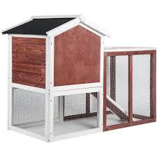 Advantek Stilt House Rabbit Hutch Amazon Com Merax Auburn And White Rabbit Bunny Hutch House With
