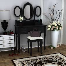 black makeup desk with drawers wooden dressing table black pine makeup desk with stool 3 oval
