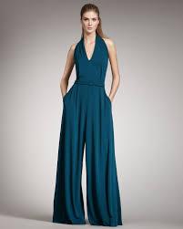 teal jumpsuit lyst belted halter jumpsuit in blue