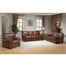 80 Leather Sofa Oasis Premium Brown Top Grain Leather Sofa Loveseat And Chair