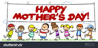 many children celebrating mothers day banner stock illustration