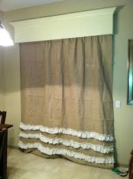 diy make burlap curtains with ruffles classy clutter