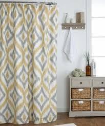 Geometric Burnout Shower Curtain Tan Yellow And Gray Shower Curtain Bathroom Grey U0026 Yellow Shower