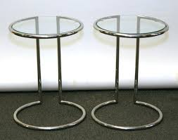 round glass side table round chrome table pair modern tube chrome round side tables with