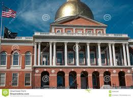 iconic massachusetts state house building in boston on a bright